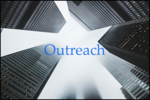 """Image of buildings with the word """"Outreach"""" for Veterans and Disabled. Outreach is an important part of an affirmative action plan"""